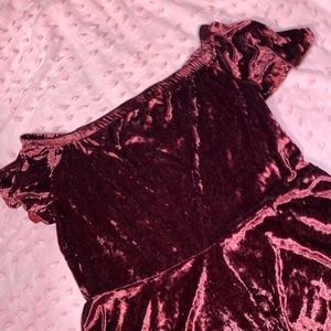 Velvet off the shoulder Burgundy Skater Dress 💋✨